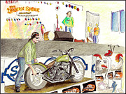 Al Puskaric Drawings Prints - Jay Allen At The Broken Spoke Saloon Print by Albert Puskaric