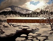 Covered Bridge Paintings - Jay Covered Bridge by Peggy Miller