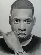 Signed Drawings Prints - Jay-z charcoal Print by Lance  Freeman