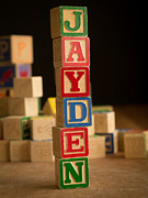 Wooden Blocks Framed Prints - JAYDEN - Alphabet Blocks Framed Print by Edward Fielding