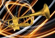 Fine_art Metal Prints - Jazz Art Trumpet Metal Print by Louis Ferreira