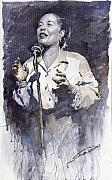 Holiday Painting Metal Prints - Jazz Billie Holiday Lady Sings The Blues Metal Print by Yuriy  Shevchuk