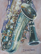 Saxes Prints - Jazz Buddies Print by Jenny Armitage