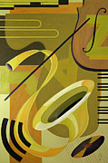 Yellow And Brown Posters - Jazz Poster by Carolyn Hubbard-Ford
