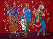 Burgundy Mixed Media Posters - Jazz Cat Trio Poster by Cynthia Snyder