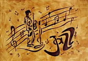 On Paper Paintings - Jazz Coffee Painting by Georgeta  Blanaru