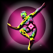 Disco Mixed Media Posters - Jazz Dancer Abstract Poster by Mr Ds Abstract Adventures