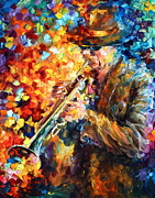Trumpet Paintings - Jazz Feel by Leonid Afremov