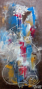 Jazz Painting Originals - Jazz Ghost Guitar Player by Robert L Berry