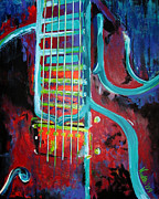 Guitar Strings Painting Originals - Jazz Guitar by Noelle Rollins