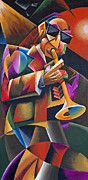 Stage Lights Painting Originals - Jazz Horn by Bob Gregory