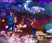 Trio Prints - Jazz In Heaven Print by Bedros Awak