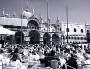 Jazz In Piazza San Marco Black And White  Print by Ramona Matei