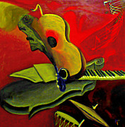 Violins Paintings - Jazz Infusion by Byron Fli Walker