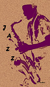 Saxaphone Prints - Jazz Man Print by Linda  Parker