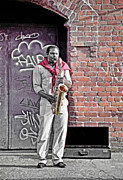 1980s Mixed Media Metal Prints - Jazz Man - Street Performer Metal Print by Steve Ohlsen