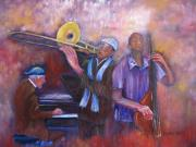 Trombone Painting Originals - Jazz Men by Loretta Luglio
