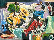 African Prints Paintings - Jazz No. 3 by Elisabeta Hermann