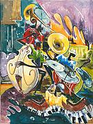 Singer Painting Framed Prints - Jazz No. 4 Framed Print by Elisabeta Hermann