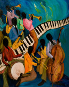 Trombone Paintings - Jazz on Fire by Larry Martin