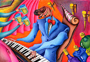 Cheers Drawings Posters - Jazz pianist Poster by T Koni