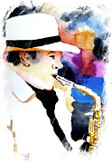 Sax Art Paintings - Jazz Player by Steven Ponsford