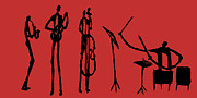 Drums Painting Prints - Jazz Quartet On Red Print by Rhodes Rumsey