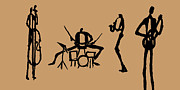 Drums Painting Prints - Jazz Quartet On Tan Print by Rhodes Rumsey