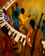 African-american Painting Prints - Jazz Quintet and Friends Print by Larry Martin