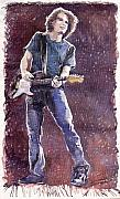 Figurative Painting Posters - Jazz Rock John Mayer 01 Poster by Yuriy  Shevchuk