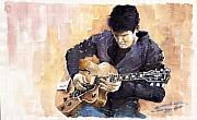 Instrument Painting Posters - Jazz Rock John Mayer 02 Poster by Yuriy  Shevchuk