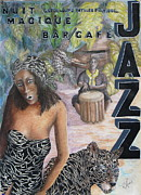 Night Cafe Mixed Media Prints - Jazz Print by Roy Kenen