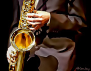 Vibe Digital Art Posters - Jazz Sax Player Poster by Alexandra Jordankova