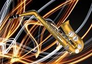 Jazz Saxaphone  Print by Louis Ferreira