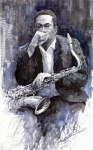 Jazz Painting Prints - Jazz Saxophonist John Coltrane black Print by Yuriy  Shevchuk