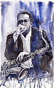 Watercolor  Paintings - Jazz Saxophonist John Coltrane blue by Yuriy  Shevchuk