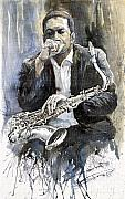 Watercolour Prints - Jazz Saxophonist John Coltrane yellow Print by Yuriy  Shevchuk