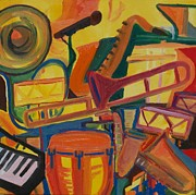 Trombone Painting Originals - Jazz Squared by James  Christiansen