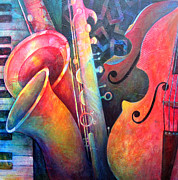 Sax Art Paintings - Jazz  by Susanne Clark