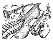 Musical Notes Drawings Prints - Jazz Tempo Print by Karen Sirard