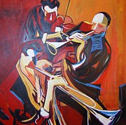 Napa Valley Mixed Media - Jazz trio by Rebecca Lou Mudd