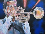 Trumpet Paintings - Jazz Trumpet Player by Mike Rabe