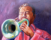 Red Band Painting Originals - Jazz Trumpet Player by Todd Bandy