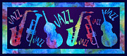 Saxes Prints - Jazzy Combo Print by Jenny Armitage