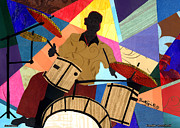 Lino Framed Prints - Jazzy Drummer 2012 Framed Print by Everett Spruill