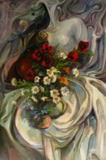 Wild Flowers Paintings - Jazzy still-life by Tigran Ghulyan