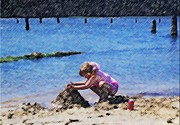 Little Girl Mixed Media - Jazzys Sand Castle by Jamie Harcourt