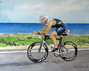 Ironman Painting Posters - J.C Cycling in Ironman Cancun Poster by Tanya Petruk