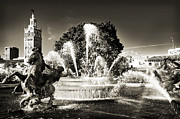Fountain Digital Art Photos - JC Nichols Memorial Fountain BW 1 by Andee Photography