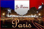 Champs Elysees Framed Prints - Je Taime Paris Framed Print by Chuck Staley